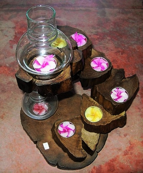 Wood candle holder-CH008-2