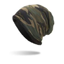 Free Shipping Autumn Winter Plus Velvet Thermal Hat Thick Camouflage Cap Men Women Sport Warm Windproof Fleece Hat