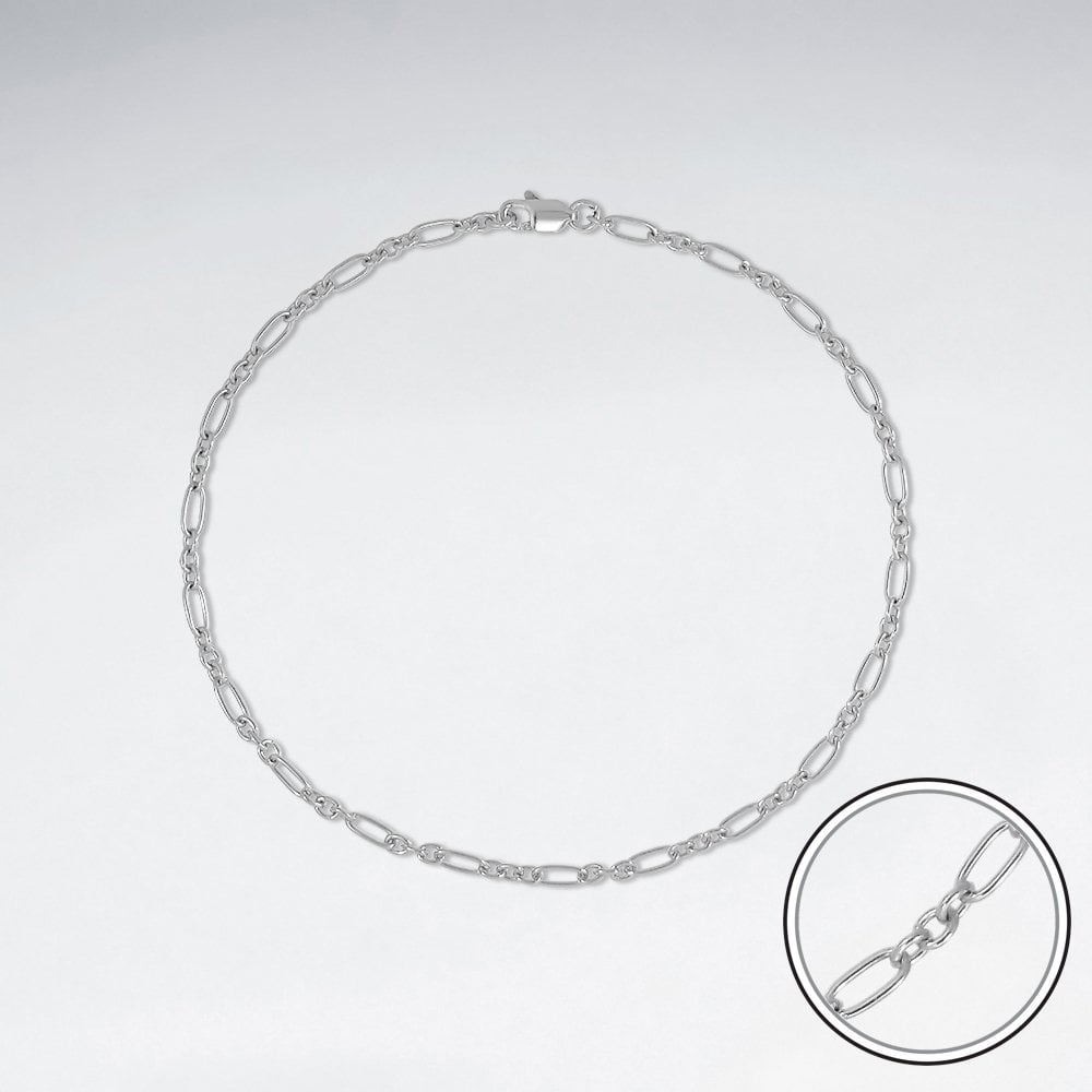 STERLING SILVER MOTHER AND SON CABLE ANKLET CHAIN