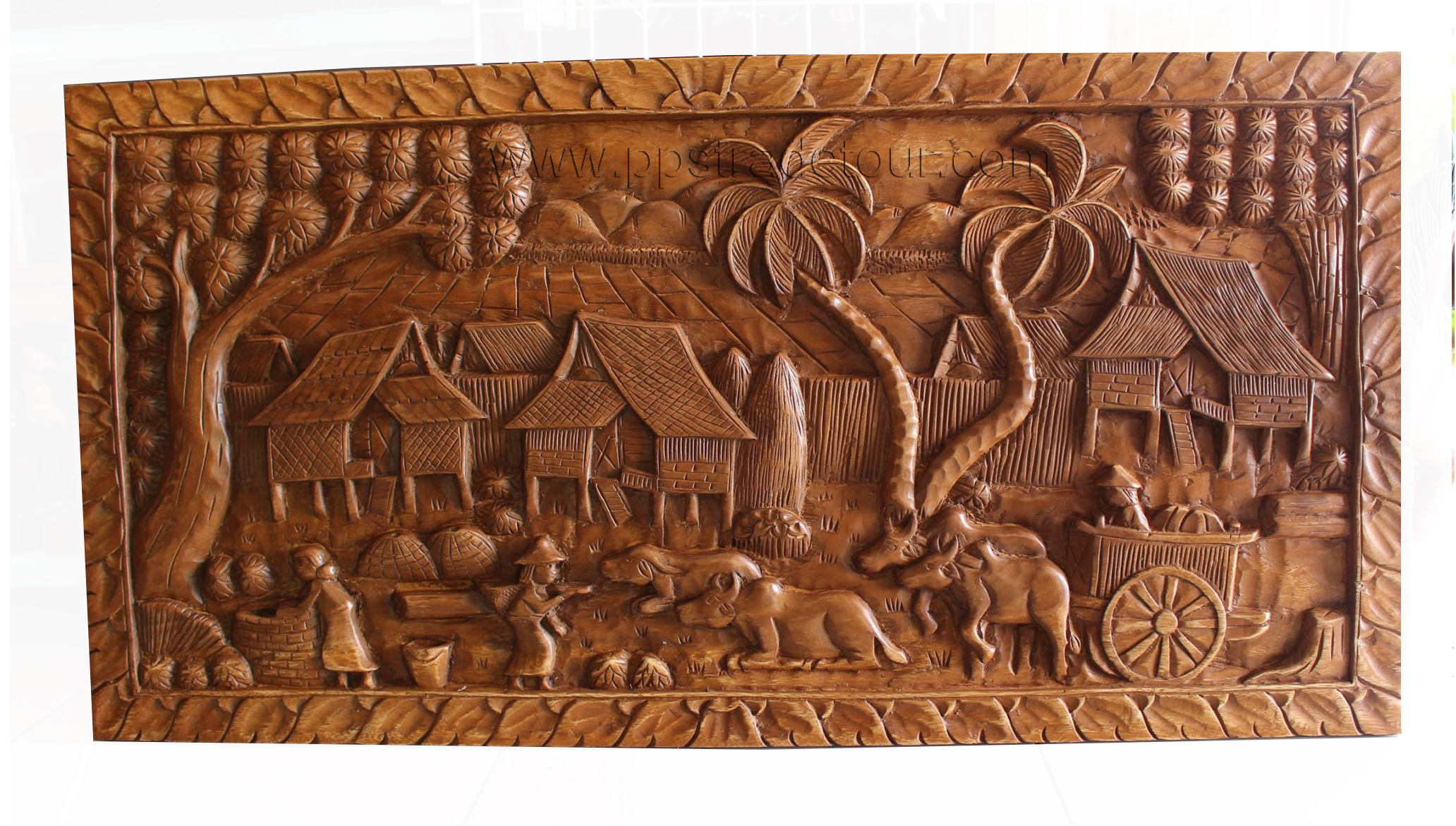 WoodCarveWallDecor-ThaiScenery