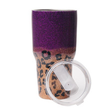 RTS Adult 30oz Stainless Steel Purple Leopard Glitter Tumbler Car Device Cheetah Resin Epoxy Tumbler