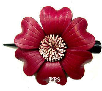 Leather Flower for hair Clips-