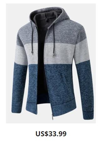 Mens Patchwork Zip Up Knit Plush Lined Warm Slant Pocket Hooded Cardigans