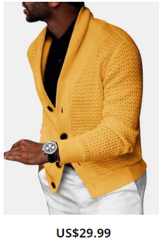 Mens Rib-Knit Hollow Out Button Front Lapel Casual Long Sleeve Cardigans