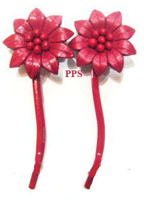 Leather Flower for hair Clips-g54