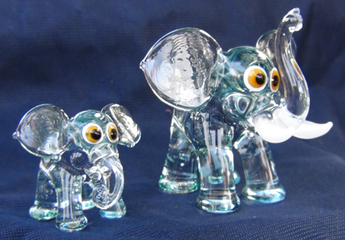 blown glass-baby elephant