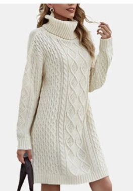 Casual High Neck Thick Knitting Pullover Chunky Sweater Dress SKUF99138