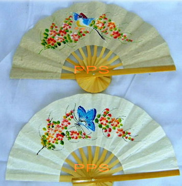 Mulberry Paper hand fans painted