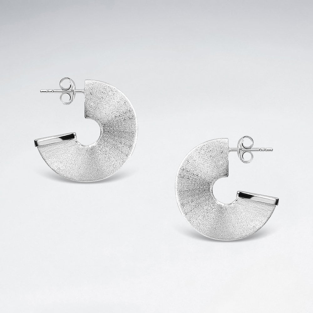 STERLING SILVER CHUNKY HALF DISC HOOP STUD EARRINGS code: PS-ES2543