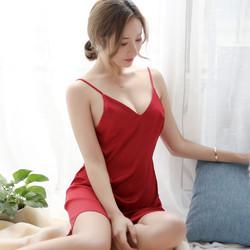 Silky Satin One Piece Suspenders Pajamas Set Sexy Night Club Dress