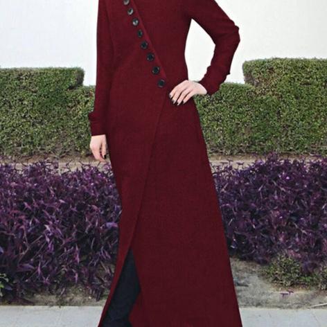 Solid Color Oblique Placket Long Jacket Long Sleeve Vintage DressSKUF56330.png