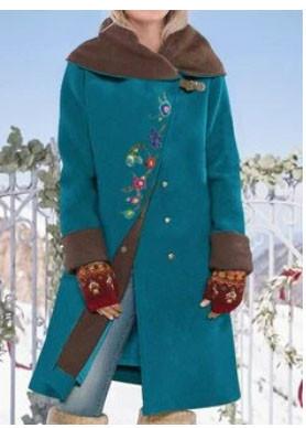 Vintage Floral Embroidery Button Long Sleeve Woolen Coat SKUG48211