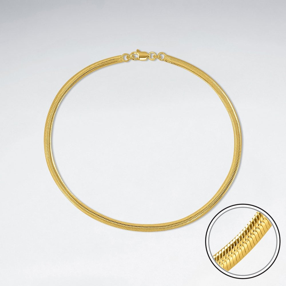 925 STERLING SILVER SNAKE ROPE 18K GOLD PLATED WITH E-COATING BRACELET LENGTH 10 INCHES