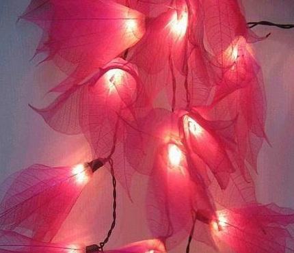 rubber leaf flower string lights-4