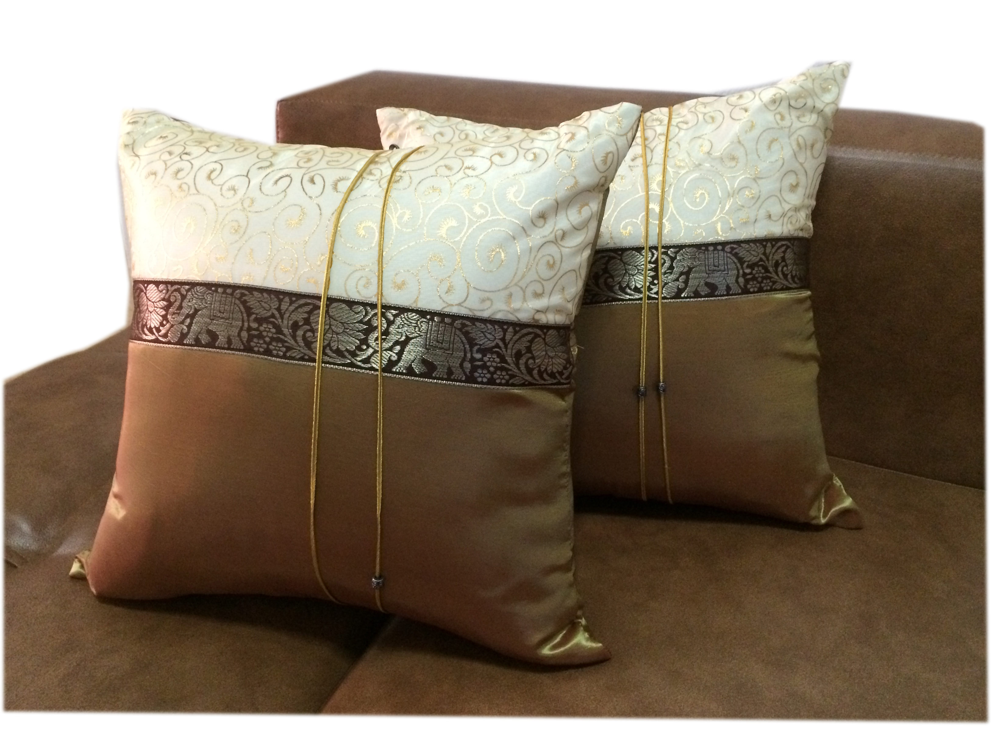 Cushion cover-BrownGoldPairs