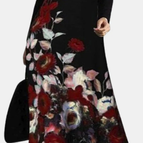 Casual Calico Print Long Sleeve Plus Size Cotton Dress for WomenSKUG70728