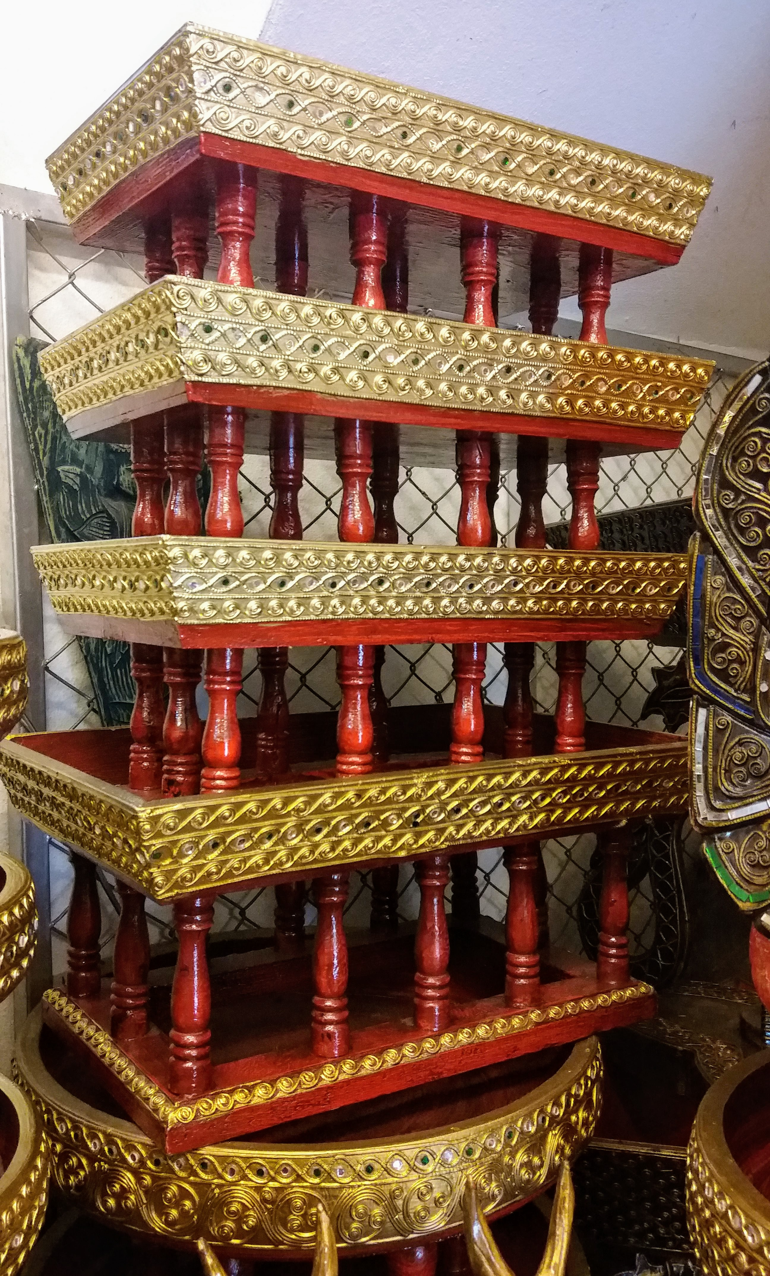 Old Thai Style Lacquer tray with base