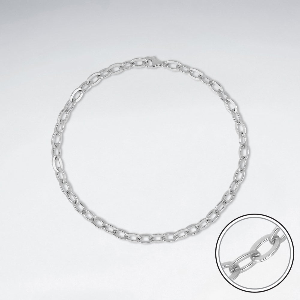STERLING SILVER CABLE CHAIN ANKLET