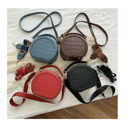 Fashion small round bag 2020 Spring new cross-body bag stone pattern Mini shoulder hand bag zipper h