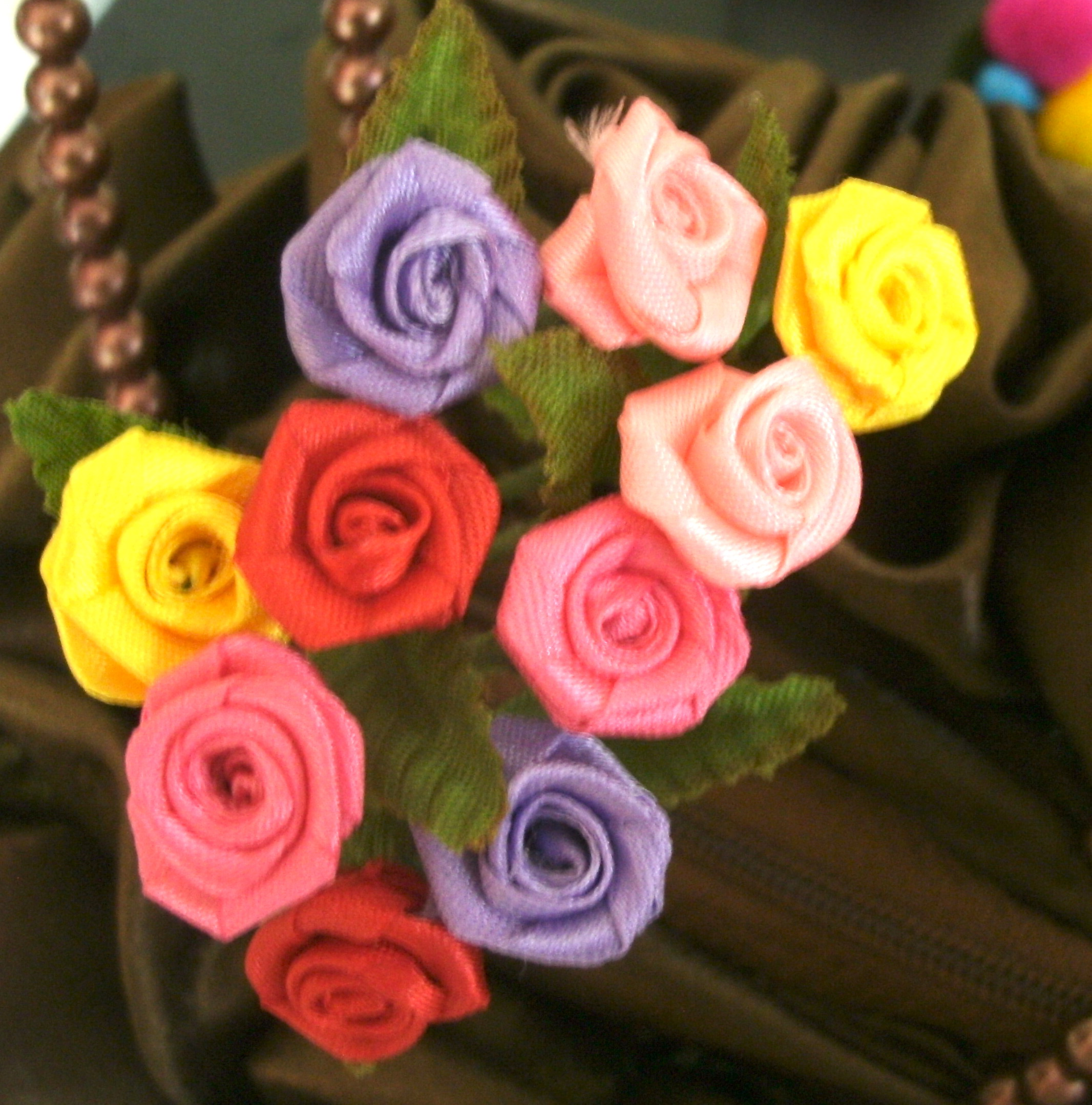 Fabric ribbon mini rose