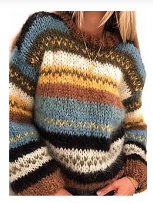Contrast Color Stripe Long Sleeve Vintage Sweater For Women SKUG48650
