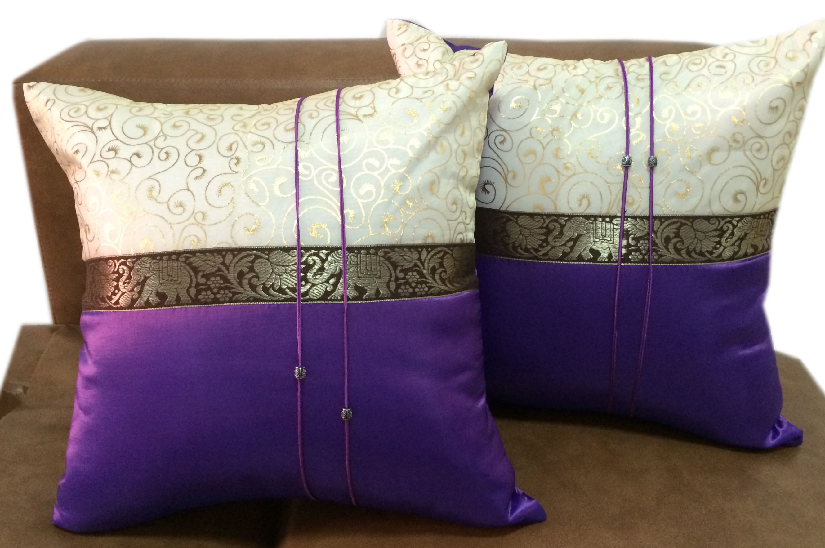 Cushion cover-VioletGoldPairs