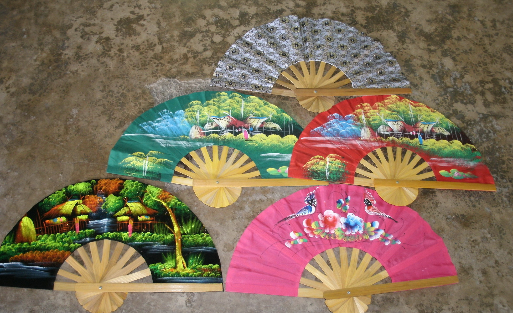 Hand Satin and lace Fan Paint