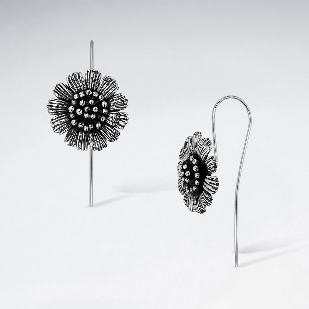 STERLING SILVER SUNFLOWER HOOK OXIDIZED EARRINGS code: PS-ES2971BK
