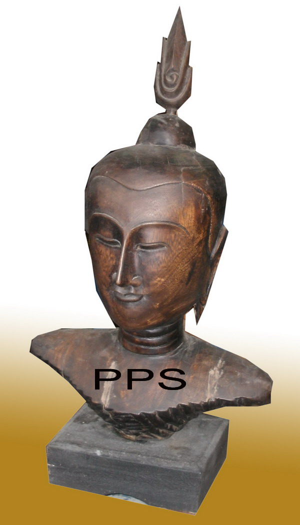 Wood Buddha Head 4496-11