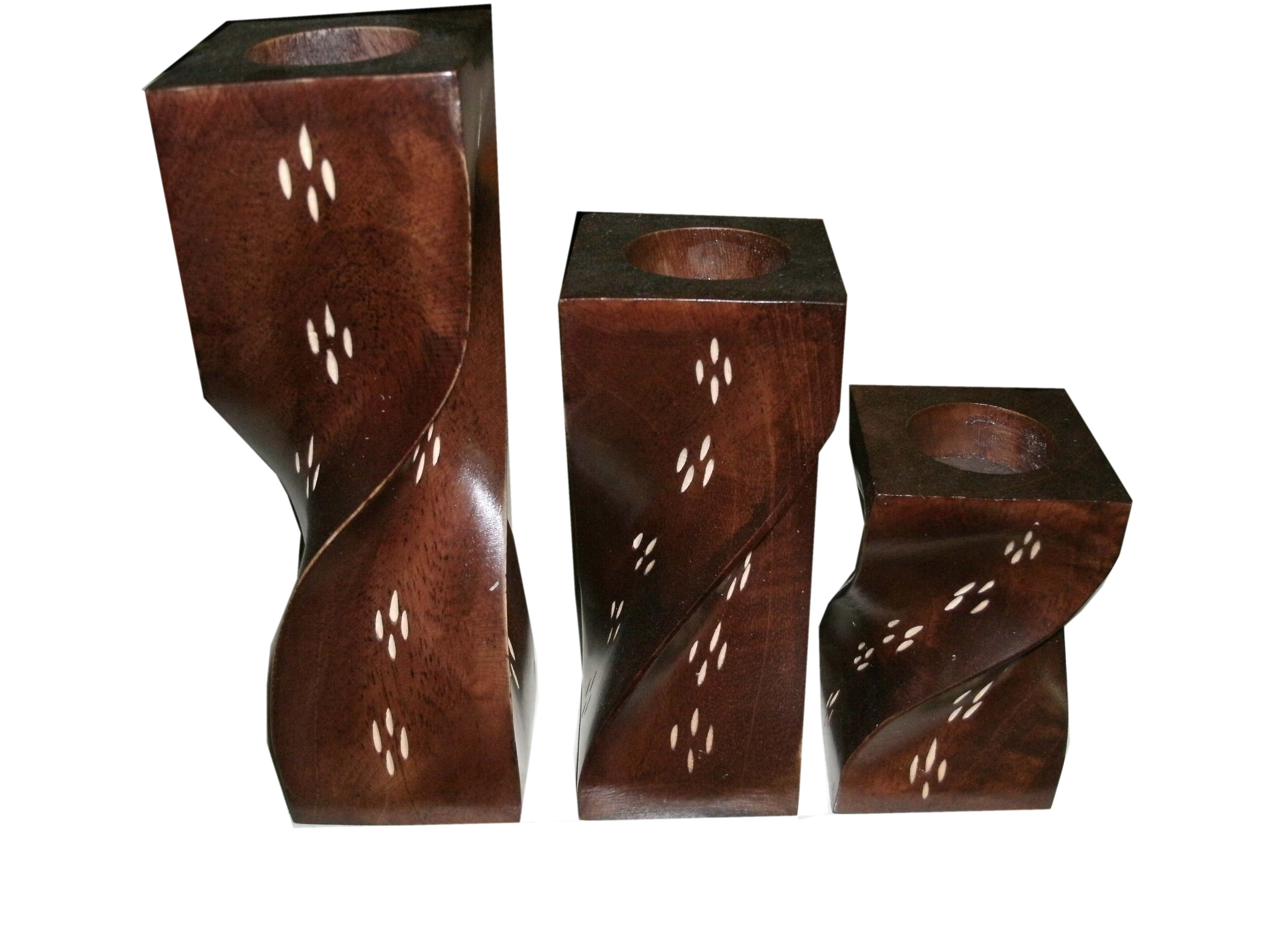 Wood candle holder-WCH-0424