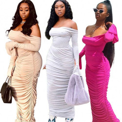 10AF030 cheap apparel off shoulder top pleated sheath maxi Long 2020 Women 2 Piece Skirts Set