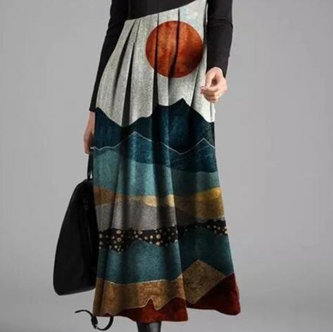 Landscape Printed Long Sleeve Patchwork Dress For WomenSKUG42714