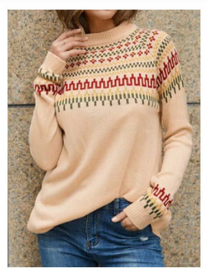 Vintage Jacquard Printed Casual Pullover Knit Women Sweater SKUG44099