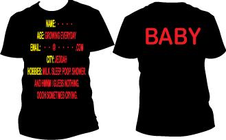 Baby info t-shirt