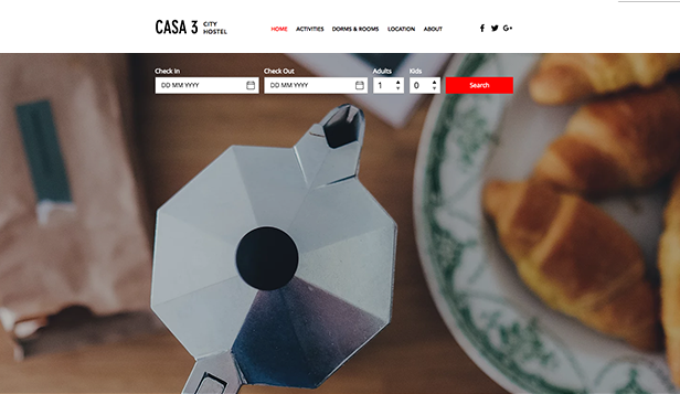 Viagem e Turismo website templates – City Hostel