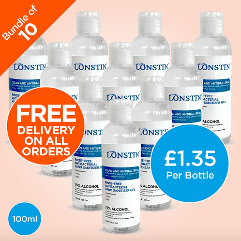 Lonstin Rinse-Free Hand Sanitiser Gel, Bundle of 10 - 75% Alcohol 100ml