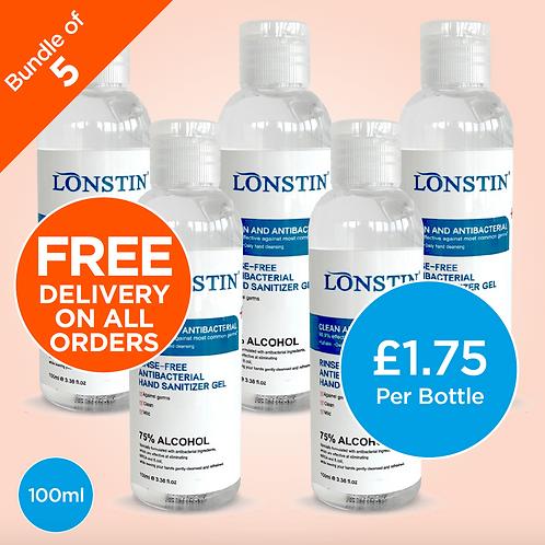 Lonstin Rinse-Free Hand Sanitiser Gel, Bundle of 5 - 75% Alcohol 100ml