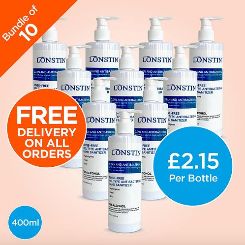 Lonstin Rinse-Free Hand Sanitiser Gel, Bundle of 10 - 75% Alcohol 400ml