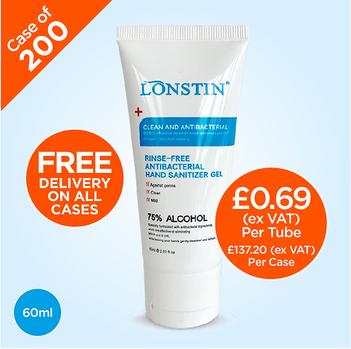 Lonstin Rinse-Free Hand Sanitiser Gel, 75% Alcohol 60ml (Case of 200)