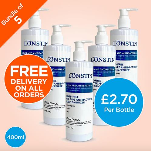 Lonstin Rinse-Free Hand Sanitiser Gel, Bundle of 5 - 75% Alcohol 400ml