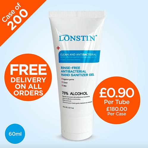 Lonstin Rinse-Free Hand Sanitiser Gel, 75% Alcohol 60ml (Case of 200)