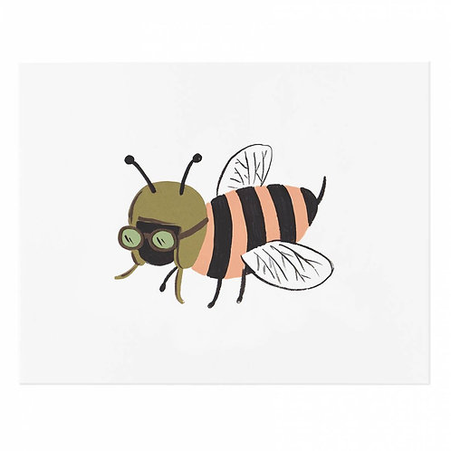 "Bee Illustrated 8""x10"" Art Print"