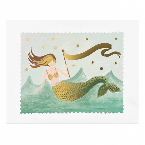 "Vintage Mermaid Illustrated 8""x10"" Art Print"