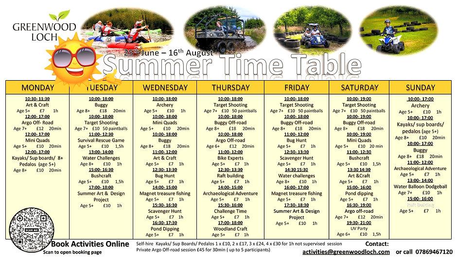 Greenwood Loch Summer Activity timetable