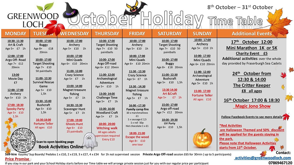 October Holiday Time Table 2021