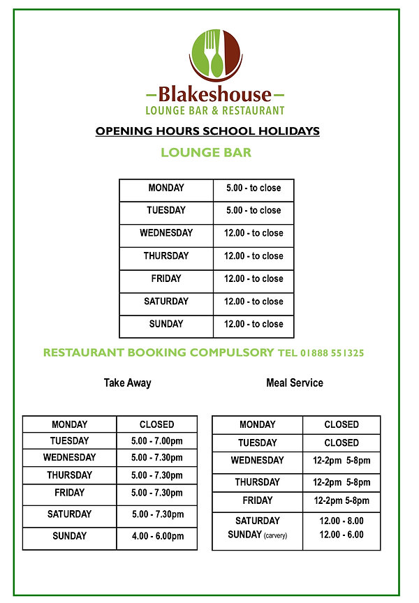 School Holiday Opening Hours