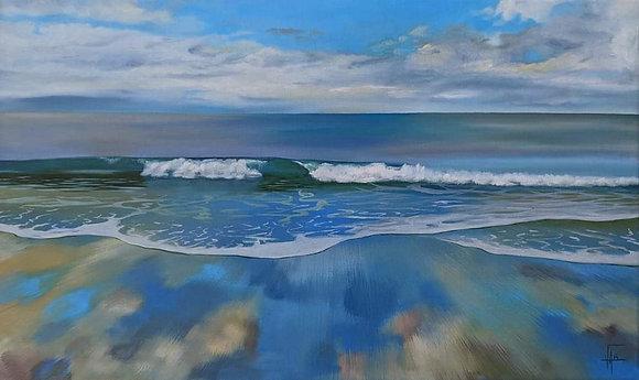 Vague à l'huile sur toile format 55 x 33 cm