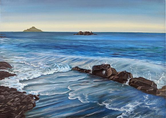 Plage des vallées, peinture à l'huile sur toile de lin