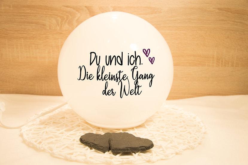 """Lampe mit Spruch """"Du&Ich. Die kleinste Gang der Welt"""": Schwarz & Summer-Plum"""