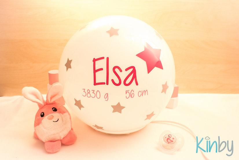 Lampe mit Geburtsdaten: Pink und Hellrosa